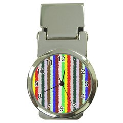 Vivid Colors Curly Stripes   2 Money Clip With Watch by BestCustomGiftsForYou