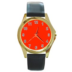 Bright Red Round Leather Watch (gold Rim)  by BestCustomGiftsForYou