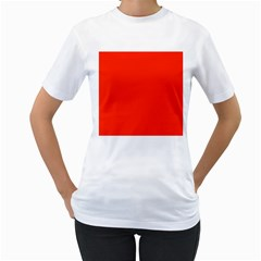 Bright Red Women s T-Shirt (White)  by BestCustomGiftsForYou