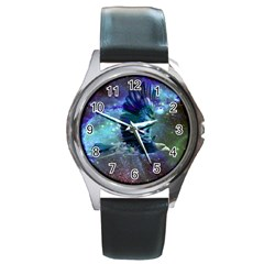 Catch A Falling Star Round Leather Watch (silver Rim) by icarusismartdesigns