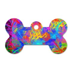 Colour Chaos  Dog Tag Bone (one Sided) by icarusismartdesigns