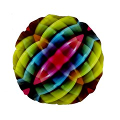 Multicolored Abstract Pattern Print 15  Premium Round Cushion  by dflcprints