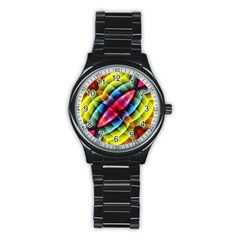 Multicolored Abstract Pattern Print Sport Metal Watch (black) by dflcprints