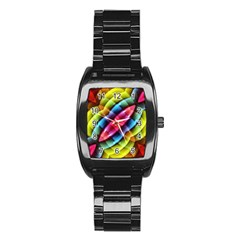 Multicolored Abstract Pattern Print Stainless Steel Barrel Watch by dflcprints