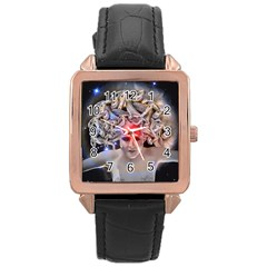 Medusa Rose Gold Leather Watch  by icarusismartdesigns