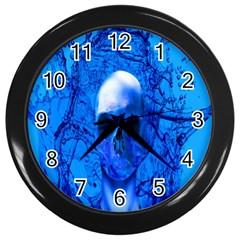 Alien Blue Wall Clock (black) by icarusismartdesigns