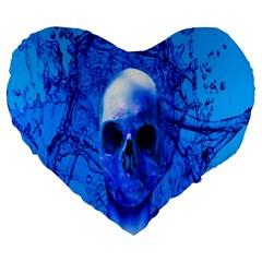 Alien Blue 19  Premium Heart Shape Cushion by icarusismartdesigns
