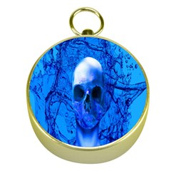 Alien Blue Gold Compass by icarusismartdesigns