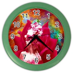 Star Flower Wall Clock (color) by icarusismartdesigns