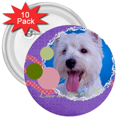 Pet By Pet    3  Button (10 Pack)   524mrsg8kfze   Www Artscow Com Front
