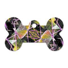 Geometric Grunge Pattern Print Dog Tag Bone (two Sided) by dflcprints