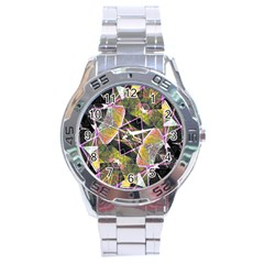 Geometric Grunge Pattern Print Stainless Steel Watch by dflcprints