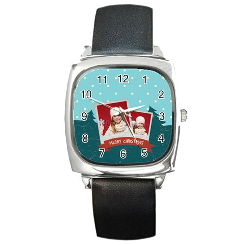 Xmas, Christmas Gift  By Xmas   Square Metal Watch   Ycpxxzmbah0j   Www Artscow Com Front