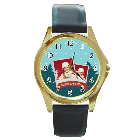 Xmas By Xmas   Round Gold Metal Watch   7pqpa6xbydu3   Www Artscow Com Front