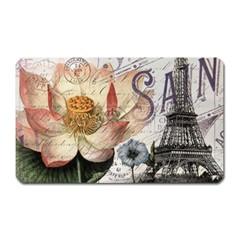 Vintage Paris Eiffel Tower Floral Magnet (rectangular) by chicelegantboutique