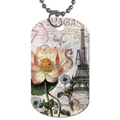 Vintage Paris Eiffel Tower Floral Dog Tag (two Sided)  by chicelegantboutique