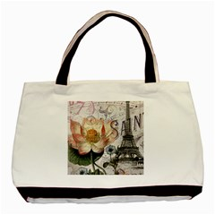 Vintage Paris Eiffel Tower Floral Twin Sided Black Tote Bag by chicelegantboutique