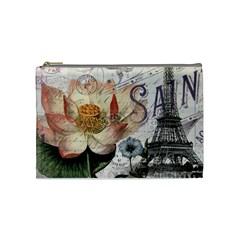 Vintage Paris Eiffel Tower Floral Cosmetic Bag (Medium) by chicelegantboutique