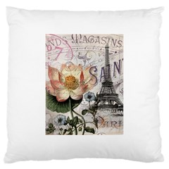 Vintage Paris Eiffel Tower Floral Large Cushion Case (single Sided)  by chicelegantboutique