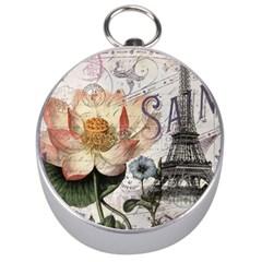 Vintage Paris Eiffel Tower Floral Silver Compass by chicelegantboutique