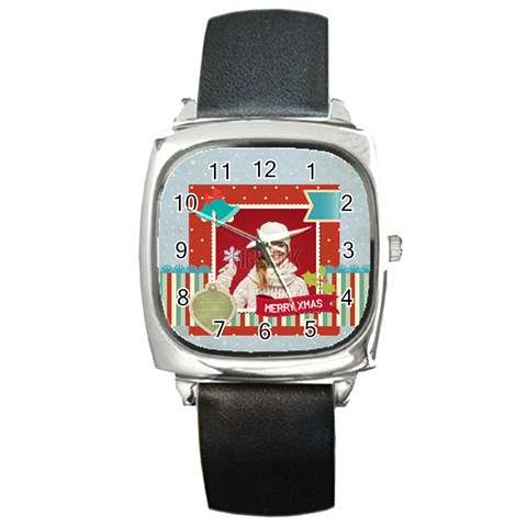 Xmas, Christmas Gift  By Xmas   Square Metal Watch   Jtot8yx88d57   Www Artscow Com Front