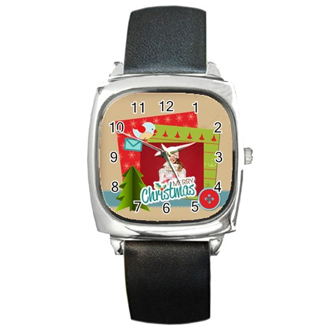 Xmas, Christmas Gift  By Xmas   Square Metal Watch   Xdiyh1bs6j8c   Www Artscow Com Front