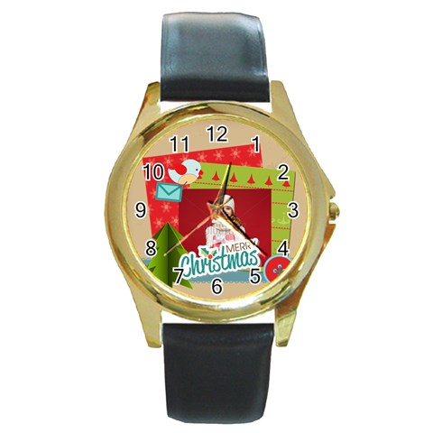 Xmas By Xmas   Round Gold Metal Watch   Z95unn79o2zr   Www Artscow Com Front