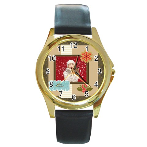Xmas By Xmas   Round Gold Metal Watch   A52yh9vk9w6y   Www Artscow Com Front