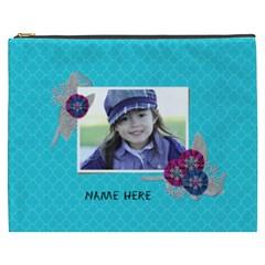 Cosmetic Bag (xxxl): Snowflakes By Jennyl   Cosmetic Bag (xxxl)   H824cbmcm4hq   Www Artscow Com Front