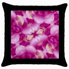 Beauty Pink Abstract Design Black Throw Pillow Case by dflcprints