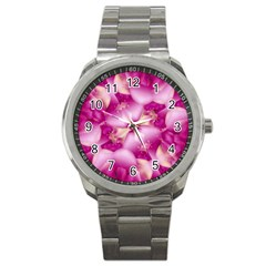 Beauty Pink Abstract Design Sport Metal Watch by dflcprints