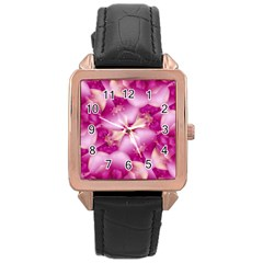 Beauty Pink Abstract Design Rose Gold Leather Watch  by dflcprints