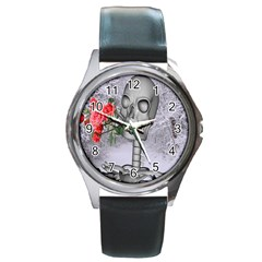 Looking Forward To Spring Round Leather Watch (silver Rim) by icarusismartdesigns
