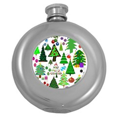 Oh Christmas Tree Hip Flask (round) by StuffOrSomething