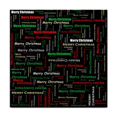 Merry Christmas Typography Art Ceramic Tile by StuffOrSomething