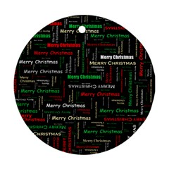 Merry Christmas Typography Art Round Ornament by StuffOrSomething