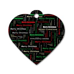 Merry Christmas Typography Art Dog Tag Heart (one Sided)  by StuffOrSomething