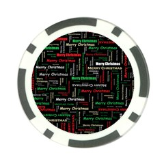Merry Christmas Typography Art Poker Chip by StuffOrSomething