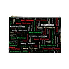 Merry Christmas Typography Art Cosmetic Bag (large) by StuffOrSomething