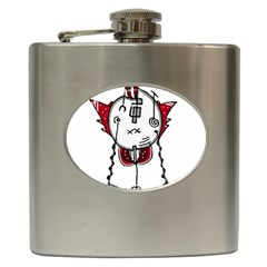 Alien Robot Hand Draw Illustration Hip Flask by dflcprints