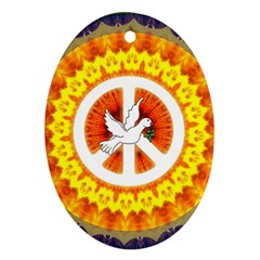 Psychedelic Peace Dove Mandala Oval Ornament by StuffOrSomething