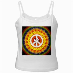 Psychedelic Peace Dove Mandala White Spaghetti Tank by StuffOrSomething