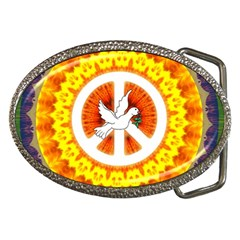 Psychedelic Peace Dove Mandala Belt Buckle (oval) by StuffOrSomething