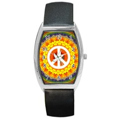 Psychedelic Peace Dove Mandala Tonneau Leather Watch by StuffOrSomething