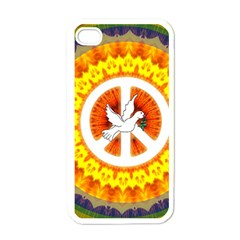 Psychedelic Peace Dove Mandala Apple Iphone 4 Case (white) by StuffOrSomething
