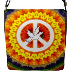 Psychedelic Peace Dove Mandala Flap Closure Messenger Bag (small) by StuffOrSomething