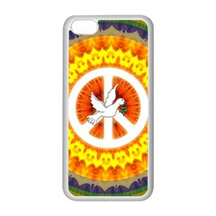 Psychedelic Peace Dove Mandala Apple Iphone 5c Seamless Case (white) by StuffOrSomething