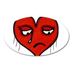Sad Heart Magnet (oval) by dflcprints