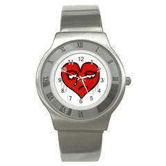 Sad Heart Stainless Steel Watch (slim) by dflcprints