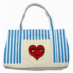 Sad Heart Blue Striped Tote Bag by dflcprints